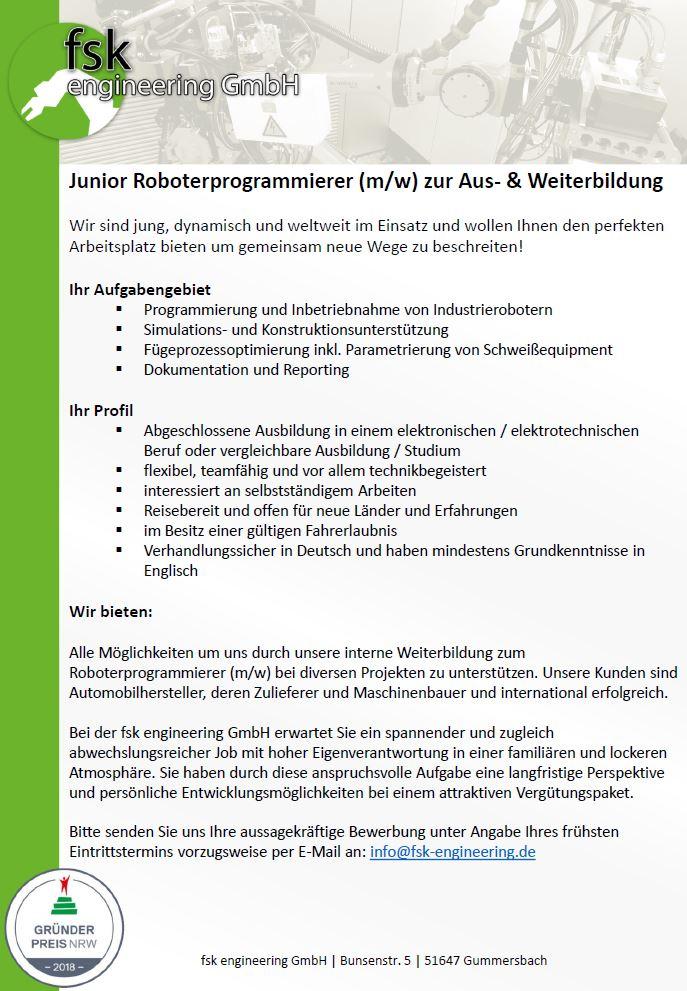 Ausschreibung Junior Roboterprogrammierer
